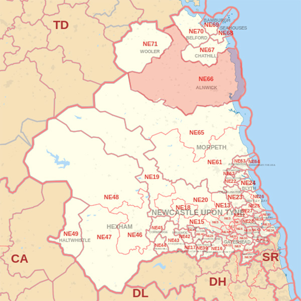 Map showing the NE66 Postcode area Covered By Alnwick skip Hire