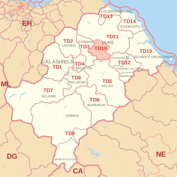 Map showing the TD10 Postcode area Covered By Alnwick skip Hire
