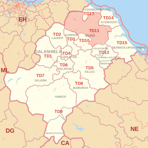 Map showing the TD11 Postcode area Cpvered By Alnwick  skip Hire