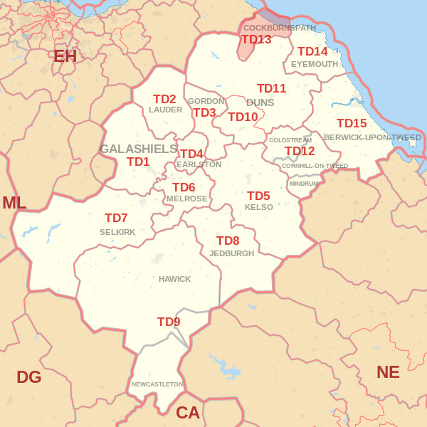 Map showing the TD13 Postcode area Covered By Alnwick skip Hire