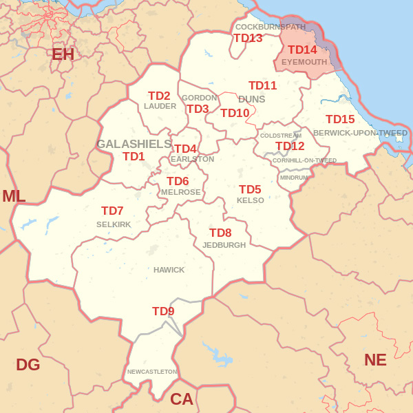 Map showing the TD14 Postcode area Covered By Alnwick skip Hire
