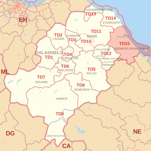 Map showing the TD15 Postcode area Covered By Alnwick skip Hire