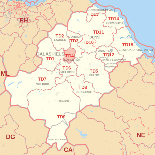 Map showing the TD4 Postcode area Cpvered By Alnwick skip Hire