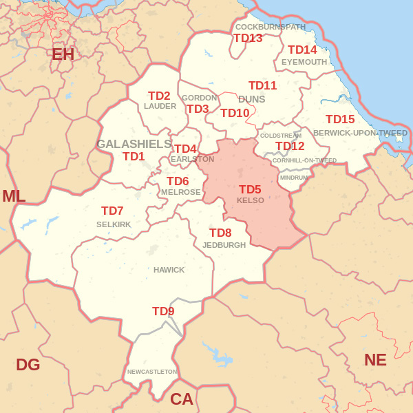 Map showing the TD5 Postcode area Covered By Alnwick skip Hire
