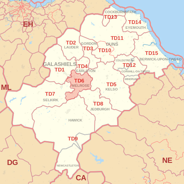 Map showing the TD6 Postcode area Cpvered By Alnwick  skip Hire