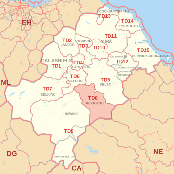 Map showing the TD8 Postcode area Covered By Alnwick skip Hire