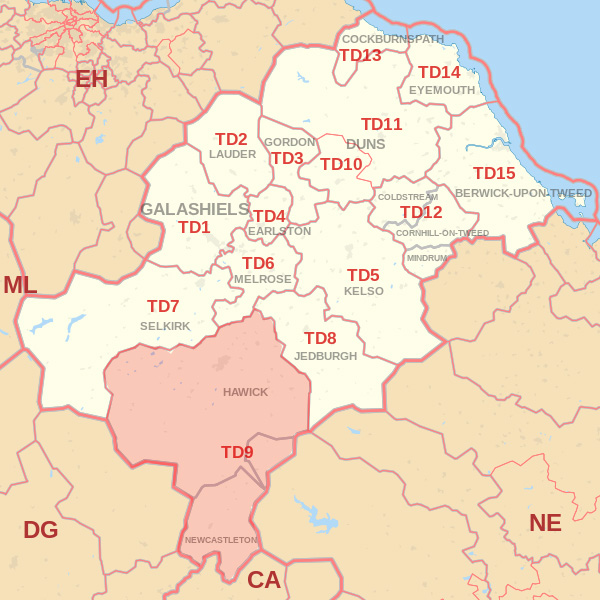 Map showing the TD9 Postcode area Covered By Alnwick skip Hire