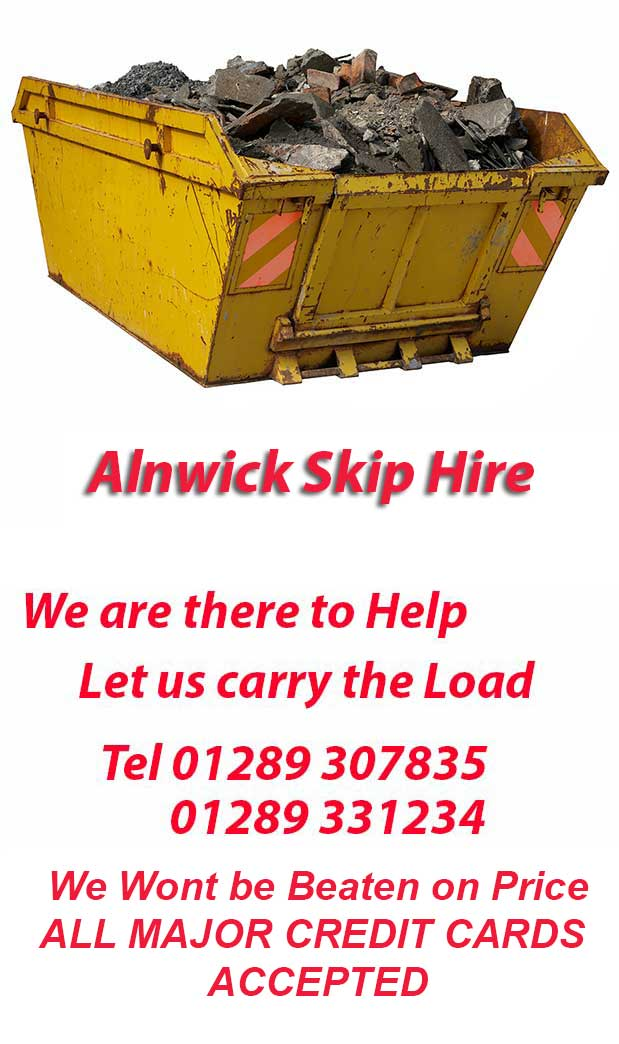 Alnwick  Skip Hire NE67 Postcode area contact